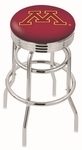 University of Minnesota 25'' Chrome Finish Double Ring Swivel Backless Counter Height Stool with Ribbed Accent Ring [L7C3C25MINNUN-FS-HOB]