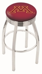 University of Minnesota 25'' Chrome Finish Swivel Backless Counter Height Stool with 2.5'' Ribbed Accent Ring [L8C3C25MINNUN-FS-HOB]