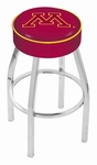 University of Minnesota 25'' Chrome Finish Swivel Backless Counter Height Stool with 4'' Thick Seat [L8C125MINNUN-FS-HOB]
