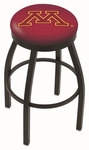 University of Minnesota 25'' Black Wrinkle Finish Swivel Backless Counter Height Stool with Accent Ring [L8B2B25MINNUN-FS-HOB]