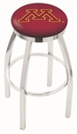 University of Minnesota 25'' Chrome Finish Swivel Backless Counter Height Stool with Accent Ring [L8C2C25MINNUN-FS-HOB]