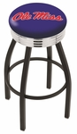 University of Mississippi 25'' Black Wrinkle Finish Swivel Backless Counter Height Stool with Ribbed Accent Ring [L8B3C25MSSPPU-FS-HOB]