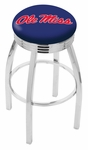 University of Mississippi 25'' Chrome Finish Swivel Backless Counter Height Stool with 2.5'' Ribbed Accent Ring [L8C3C25MSSPPU-FS-HOB]