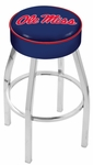 University of Mississippi 25'' Chrome Finish Swivel Backless Counter Height Stool with 4'' Thick Seat [L8C125MSSPPU-FS-HOB]