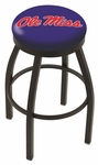 University of Mississippi 25'' Black Wrinkle Finish Swivel Backless Counter Height Stool with Accent Ring [L8B2B25MSSPPU-FS-HOB]