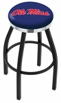 University of Mississippi 25'' Black Wrinkle Finish Swivel Backless Counter Height Stool with Chrome Accent Ring [L8B2C25MSSPPU-FS-HOB]