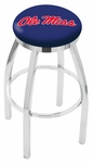 University of Mississippi 25'' Chrome Finish Swivel Backless Counter Height Stool with Accent Ring [L8C2C25MSSPPU-FS-HOB]