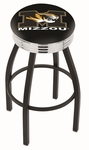 University of Missouri 25'' Black Wrinkle Finish Swivel Backless Counter Height Stool with Ribbed Accent Ring [L8B3C25MIZZOU-FS-HOB]
