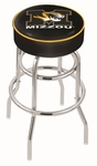 University of Missouri 25'' Chrome Finish Double Ring Swivel Backless Counter Height Stool with 4'' Thick Seat [L7C125MIZZOU-FS-HOB]