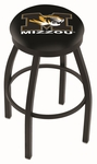University of Missouri 25'' Black Wrinkle Finish Swivel Backless Counter Height Stool with Accent Ring [L8B2B25MIZZOU-FS-HOB]