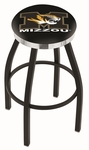 University of Missouri 25'' Black Wrinkle Finish Swivel Backless Counter Height Stool with Chrome Accent Ring [L8B2C25MIZZOU-FS-HOB]
