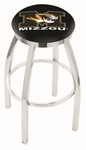 University of Missouri 25'' Chrome Finish Swivel Backless Counter Height Stool with Accent Ring [L8C2C25MIZZOU-FS-HOB]