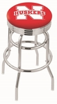 University of Nebraska 25'' Chrome Finish Double Ring Swivel Backless Counter Height Stool with Ribbed Accent Ring [L7C3C25NEBRUN-FS-HOB]