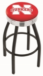 University of Nebraska 25'' Black Wrinkle Finish Swivel Backless Counter Height Stool with Ribbed Accent Ring [L8B3C25NEBRUN-FS-HOB]