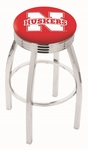 University of Nebraska 25'' Chrome Finish Swivel Backless Counter Height Stool with 2.5'' Ribbed Accent Ring [L8C3C25NEBRUN-FS-HOB]