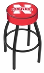 University of Nebraska 25'' Black Wrinkle Finish Swivel Backless Counter Height Stool with 4'' Thick Seat [L8B125NEBRUN-FS-HOB]