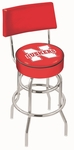 University of Nebraska 25'' Chrome Finish Swivel Counter Height Stool with Double Ring Base [L7C425NEBRUN-FS-HOB]