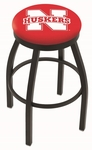 University of Nebraska 25'' Black Wrinkle Finish Swivel Backless Counter Height Stool with Accent Ring [L8B2B25NEBRUN-FS-HOB]
