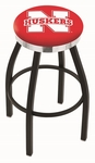 University of Nebraska 25'' Black Wrinkle Finish Swivel Backless Counter Height Stool with Chrome Accent Ring [L8B2C25NEBRUN-FS-HOB]