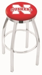 University of Nebraska 25'' Chrome Finish Swivel Backless Counter Height Stool with Accent Ring [L8C2C25NEBRUN-FS-HOB]