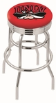 University of Nevada Las Vegas 25'' Chrome Finish Double Ring Swivel Backless Counter Height Stool with Ribbed Accent Ring [L7C3C25UNEVLV-FS-HOB]