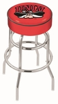 University of Nevada Las Vegas 25'' Chrome Finish Double Ring Swivel Backless Counter Height Stool with 4'' Thick Seat [L7C125UNEVLV-FS-HOB]