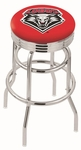 University of New Mexico 25'' Chrome Finish Double Ring Swivel Backless Counter Height Stool with Ribbed Accent Ring [L7C3C25NEWMEX-FS-HOB]