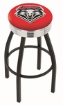 University of New Mexico 25'' Black Wrinkle Finish Swivel Backless Counter Height Stool with Ribbed Accent Ring [L8B3C25NEWMEX-FS-HOB]
