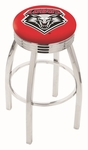 University of New Mexico 25'' Chrome Finish Swivel Backless Counter Height Stool with 2.5'' Ribbed Accent Ring [L8C3C25NEWMEX-FS-HOB]
