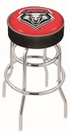 University of New Mexico 25'' Chrome Finish Double Ring Swivel Backless Counter Height Stool with 4'' Thick Seat [L7C125NEWMEX-FS-HOB]