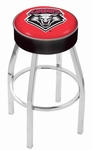 University of New Mexico 25'' Chrome Finish Swivel Backless Counter Height Stool with 4'' Thick Seat [L8C125NEWMEX-FS-HOB]