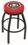University of New Mexico 25'' Black Wrinkle Finish Swivel Backless Counter Height Stool with Accent Ring [L8B2B25NEWMEX-FS-HOB]