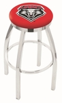 University of New Mexico 25'' Chrome Finish Swivel Backless Counter Height Stool with Accent Ring [L8C2C25NEWMEX-FS-HOB]