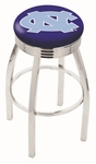 University of North Carolina 25'' Chrome Finish Swivel Backless Counter Height Stool with 2.5'' Ribbed Accent Ring [L8C3C25NORCAR-FS-HOB]