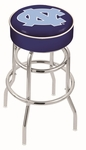 University of North Carolina 25'' Chrome Finish Double Ring Swivel Backless Counter Height Stool with 4'' Thick Seat [L7C125NORCAR-FS-HOB]