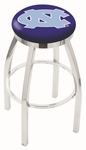 University of North Carolina 25'' Chrome Finish Swivel Backless Counter Height Stool with Accent Ring [L8C2C25NORCAR-FS-HOB]