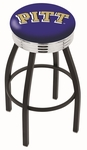 University of Pittsburgh 25'' Black Wrinkle Finish Swivel Backless Counter Height Stool with Ribbed Accent Ring [L8B3C25PITTSB-FS-HOB]