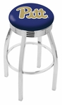University of Pittsburgh 25'' Chrome Finish Swivel Backless Counter Height Stool with 2.5'' Ribbed Accent Ring [L8C3C25PITTSB-FS-HOB]