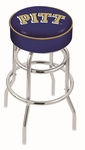 University of Pittsburgh 25'' Chrome Finish Double Ring Swivel Backless Counter Height Stool with 4'' Thick Seat [L7C125PITTSB-FS-HOB]