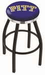 University of Pittsburgh 25'' Black Wrinkle Finish Swivel Backless Counter Height Stool with Chrome Accent Ring [L8B2C25PITTSB-FS-HOB]