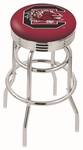 University of South Carolina 25'' Chrome Finish Double Ring Swivel Backless Counter Height Stool with Ribbed Accent Ring [L7C3C25SOUCAR-FS-HOB]