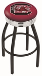 University of South Carolina 25'' Black Wrinkle Finish Swivel Backless Counter Height Stool with Ribbed Accent Ring [L8B3C25SOUCAR-FS-HOB]