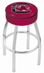 University of South Carolina 25'' Chrome Finish Swivel Backless Counter Height Stool with 4'' Thick Seat [L8C125SOUCAR-FS-HOB]