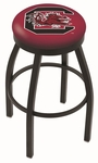 University of South Carolina 25'' Black Wrinkle Finish Swivel Backless Counter Height Stool with Accent Ring [L8B2B25SOUCAR-FS-HOB]
