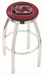 University of South Carolina 25'' Chrome Finish Swivel Backless Counter Height Stool with Accent Ring [L8C2C25SOUCAR-FS-HOB]