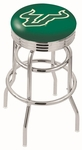 University of South Florida 25'' Chrome Finish Double Ring Swivel Backless Counter Height Stool with Ribbed Accent Ring [L7C3C25SOUFLA-FS-HOB]