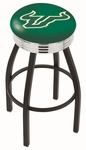 University of South Florida 25'' Black Wrinkle Finish Swivel Backless Counter Height Stool with Ribbed Accent Ring [L8B3C25SOUFLA-FS-HOB]