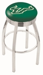 University of South Florida 25'' Chrome Finish Swivel Backless Counter Height Stool with 2.5'' Ribbed Accent Ring [L8C3C25SOUFLA-FS-HOB]