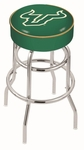 University of South Florida 25'' Chrome Finish Double Ring Swivel Backless Counter Height Stool with 4'' Thick Seat [L7C125SOUFLA-FS-HOB]