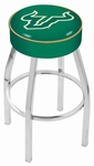 University of South Florida 25'' Chrome Finish Swivel Backless Counter Height Stool with 4'' Thick Seat [L8C125SOUFLA-FS-HOB]